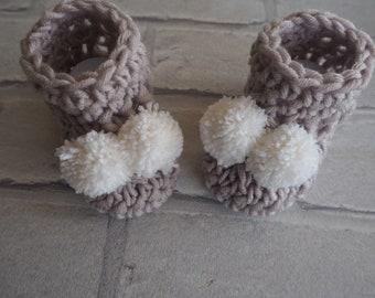 crochet baby booties, baby booties, pom pom booties, Ugg booties, baby boots, photo prop, baby shower gift, new baby gift.