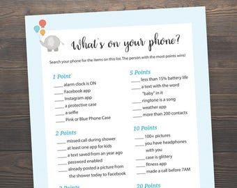 Elephant Baby Shower Games, Whatu0027s On Your Phone, Printable Baby Shower,  Whatu0027s In Your Phone, Boy Baby Shower Printable, Phone Game, S004