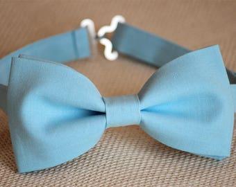 Blue bow tie, men's wedding bow tie, ring bearer bow tie, groom bowtie, groomsmen bow tie, boys bow tie, kids bow tie, blue pocket square