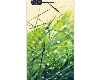 Apple iPhone Custom Case White Plastic Snap on -  Closeup Shot of Grass Blades Out of Focus 5883