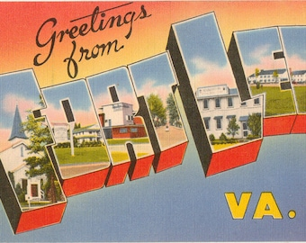 Linen Postcard, Greetings from Fort Lee, Virginia, Large Letter, 1954