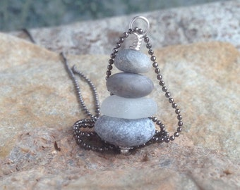 Petite Rock Cairn Necklace Sea Glass Hiking Jewelry Find Your Way