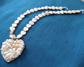 Blister Pearl Heart on a Freshwater Heart-Shaped Pearl Necklace