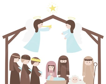 Christmas Nativity Digital Clipart Clip Art Illustrations - instant download - limited commercial use ok