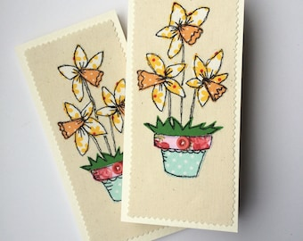 Daffodils  free motion machine embroidery Greeting Card.