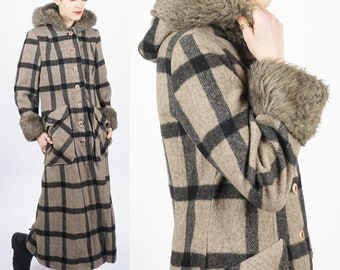 Vintage 60's/70's Extra Long Floor Length Plaid Wool Coat with Faux Fur Lined Cuffs and Hood by Betty Rose   Small/Medium