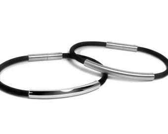 4mm Mens Black Rubber Bracelet with 5mm Stainless Steel Tube