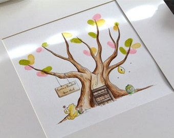Winnie the Pooh Guest Book tree baby shower. 12x12  Original Water Color Illustration
