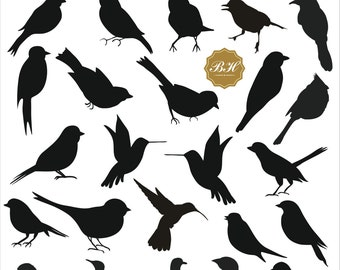 Bird Silhouettes Clip Art, Bird Silhouettes Clipart, Bird Clip Art, Wedding Bird Clipart, Cute Bird,  Animal Clipart, Instant Download