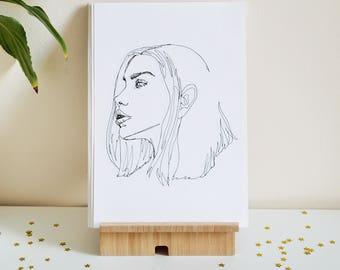 "Continuous Line Female Art Print A5 — ""Spellbound"""