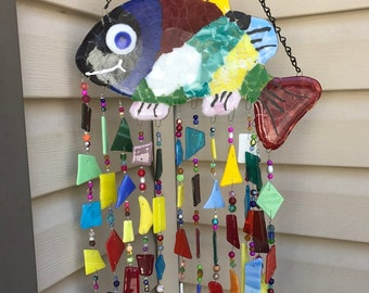 Fused Glass Wind Chime Smiling Mosaic Fish