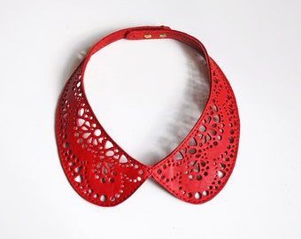 Leather lace collar necklace, Red Peter Pan detachable collar necklace
