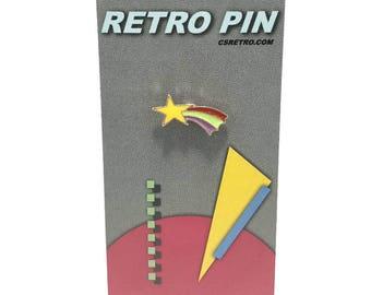 Shooting Star Retro Metal Enamel Clutch Hat Backpack Flair Vest Pin