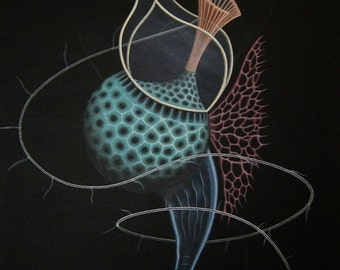 """Science art, surreal biology, print of scientific painting """"Whip of Light"""". Microbiology art, dynoflagellate, surrealism by Micah Ofstedahl"""