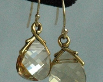 Large - Gold Filled Swarovski Crystal Golden Shadow  Earrings