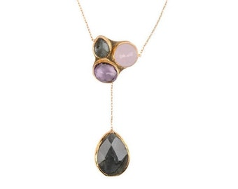 Triple Stone Gold Necklace with Pink Quartz, Amethyst and Labrodorite Stones