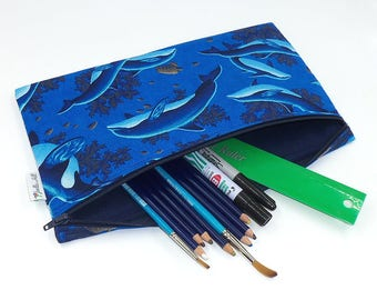 """Pencil Case Jumbo Extra Large School Size padded with chunky zip in """"Sea Life"""" by Joella Hill Australian Seller"""