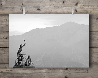 Coppi and Bartali / Ghisallo Pass, Magreglio, Italy / Alpine Mountain Landscape Travel Photography Print / Giro d'Italia Cycling Wall Art