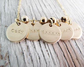 Personalized Gold Mother's Necklace, Grandmother's Necklace, Double Sided with Birthdates, Kid's Names, Grandchildren, New Larger Size!