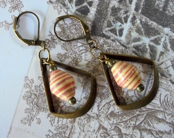 Red, Beige and Brass Ethnic Boho Earrings (4355)