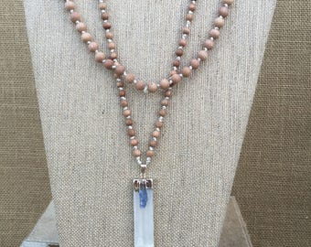 Selenite and Kyanite Rosewood Bead 40 inch Necklace