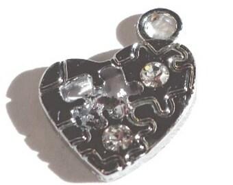 5 pieces jigsaw heart Zinc Alloy Charm Pendants with Rhinestones - A0441
