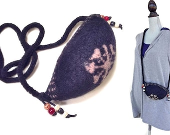 Crossbody Purse - Felted Wool Black Pouch, Upcycled