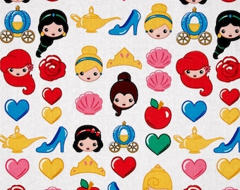 "Disney Fabric/ Disney Emojis: Disney Emojiland Princess toss on white  100% cotton fabric by the yard 36""x44"" (SC242)"
