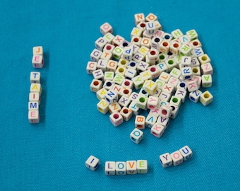Lot 100 Pearl mixed acrylic letter Alphabet Cube 6mm 6 mm Perless jewelry Bracelet