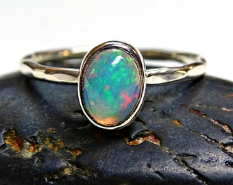 opal engagement ring, delicate opal ring silver, hammered silver ring opal, unique wedding ring, fine opal ring, ethiopian opal wedding band