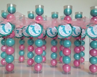 Mermaid Party Gumball tube Party Favors, Set of 12 with personalized Tags and Ribbon