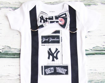 Baby Boy first birthday New York Yankees Baseball themed Cake smash outfit Boy one year yankees onesie boy first birthday boy  navy blue