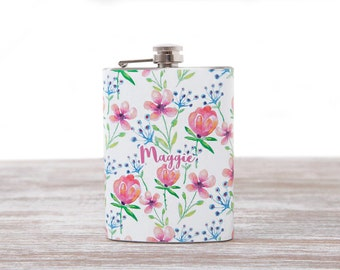 Personalized gift for woman, flowers flask, flasks for women, custom flask, cute flask, 21st birthday gift for her, womens flasks