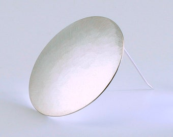 Silver Brooch round and plain/sterling silver/handmade/convex forged/matted/polished/pin/Broschnadel/Awschmuckart/Gift