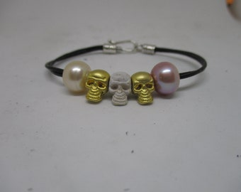 Pearls and Skulls Bracelet