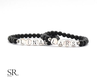Partner Bracelet Couple onyx natural bead Bracelets Bracelet Name Personalized Letter Pearl Bracelet Bracelet Gift Jewelry