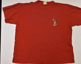 90s Duck Head Lifeguard Tshirt, Medium, Red, Large