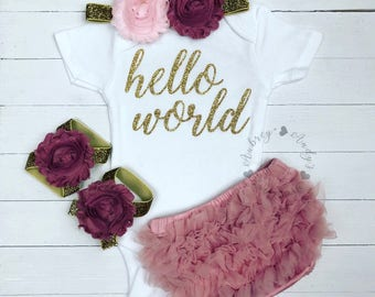 Baby Coming Home Outfit | Baby Girl Coming Home Outfit | Newborn Hello World Outfit | Newborn Coming Home Outfit | Hello World Onesie I Baby