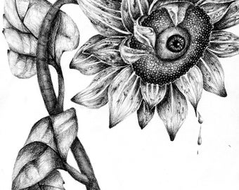 Charcoal Sunflower Print