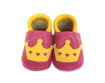 Leather Baby Booties, Baby Shoes, Princess Shoes, Infant Newborn Nursery Children, Yellow, Pink, Princess, Crown