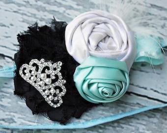 Audrey- headband aqua blue  Audrey Hepburn inspired bow with tiara and feather