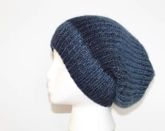Blue Slouchy Winter Beanie Hat-Blue hand knit hat-Slouchy Knit beanie-knit hat-Knit winter hat-hand knit hat-wool hat-Blue hat-Gift for him