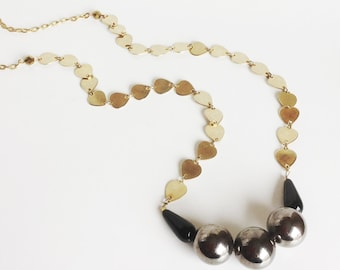 Gold Heart Chain Necklace, Gun Metal Hematite Color Beads, Black Glass Teardrops, Versatile Simple Necklace, Handmade, Long Opera Length