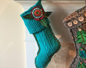 Christmas Stocking, Aqua Stocking with Felt Flower ~ Complimentary Priority 2-3 Day Shipping!!