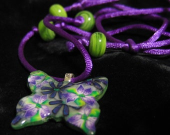 Necklace Polymer Clay Butterfly and Lampwork Purple Green