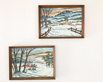 Vintage Mid Century Paint By Numbers / Winter scene / Farmhouse Decor / Framed PBN