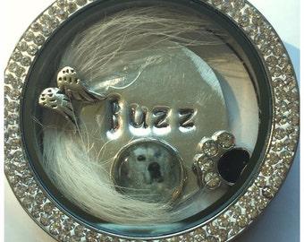 Rainbow bridge lock of fur necklace pet memorial floating locket- stainless steel-photo charm