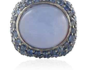 Sapphire chalcedony silver ring