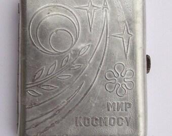 Vintage Soviet Cigarette Case Stars Space World Space USSR