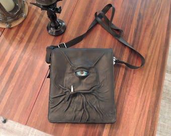 Messenger Bag: Clem-Black leather with Blue Eye